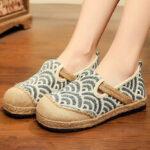 Оригинал              Женские льняные удобные носки с круглым носком повседневные туфли на плоской подошве из эспадрильи
