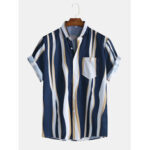 Оригинал              Мужская модная однотонная рубашка Striola с коротким рукавом с коротким рукавом