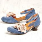 Оригинал              Женщины Винтаж Цветочные украшения круглый носок ремешок на щиколотку Крюк Loop Повседневная каблуки Туфли на высоком каблуке