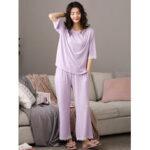 Оригинал              Женщины Softies сплошной цвет кружевной отделкой с половиной рукава дома случайный пижамный комплект