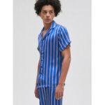 Оригинал              Мужчины Colorful Полосатый принт на пуговицах из искусственного шелка с пижамой Комплект Revere воротник с коротким рукавом для дома Пижамы