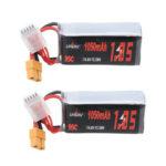 Оригинал              2 Шт. URUAV 14,8 В 1050 мАч 95C 4S Lipo Батарея XT60 Разъем для FPV RC Дрон