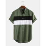 Оригинал              Рубашки мужские 100% хлопок легкий дышащий цвет блока с коротким рукавом