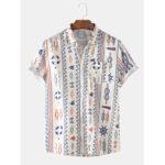 Оригинал              Мужская мода Multi абстрактные узоры печать дышащие повседневные рубашки