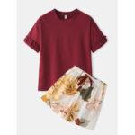 Оригинал              Женщины сплошной цвет грибной отделкой с коротким рукавом с цветочным принтом нижняя часть дышащая пижама