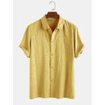 Оригинал              Мужские 100% хлопок сплошной цвет нагрудный карман повседневные рубашки с коротким рукавом