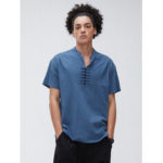 Оригинал              Мужская 100% хлопок V Шея дышащая восточная пуговица с коротким рукавом повседневная рубашка Henley