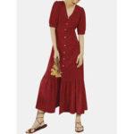 Оригинал              V-образным вырезом в горошек с коротким рукавом Кнопки Лето Пляжный Праздник Рубашка Платье
