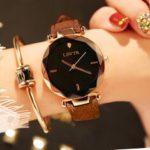 Оригинал              LSVTR Повседневная Мода Бриллиант Шаблон Циферблат Горный Хрусталь PU Кожаный Ремешок Женское Наручные Часы Кварцевые Часы