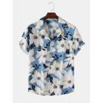 Оригинал              Мужчины Clematis Chinensis сундук с цветочным принтом и коротким рукавом с отложным воротником Рубашки в стиле Гавайев