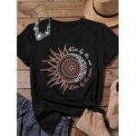 Оригинал              Повседневная футболка с коротким рукавом с принтом Sunflower Moon для Женское