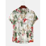 Оригинал              Мужская повседневная рубашка с цветочным принтом с отложным воротником Hawaii Пляжный Рубашки с коротким рукавом