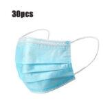 Оригинал              30шт одноразовые маски для рта 3-слойная респираторная маска для защиты от пыли личная защита