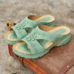 Оригинал              LOSTISY Женское Вырез с открытым носком Soft Подкладка на подошве Повседневный летний летний клин Сандалии