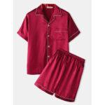 Оригинал              Мужская пижама из двух частей из искусственного шелка с воротником-лацканом с длинными рукавами