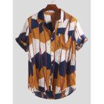 Оригинал              Мужские абстрактные контрастные рубашки с цветными блоками и карманами с короткими рукавами