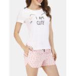 Оригинал              Summer Женское Cute Cats Soft Повседневные пижамы с коротким рукавом