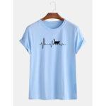 Оригинал              Мужские повседневные хлопковые футболки Кот Line с принтом Basic Round Шея