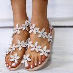 Оригинал              Women Flower Decro Bohemia Утолщение Toe Ring Повседневная Пляжный Плоская Сандалии