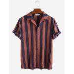 Оригинал              Рубашки мужские из 100% хлопка в вертикальную полоску с короткими рукавами