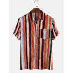 Оригинал              Мужские рубашки с длинным рукавом в полоску с воротником Colorful