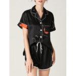 Оригинал              Женский абстрактный граффити принт Revere воротник с коротким рукавом черный домашний пижамный комплект