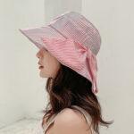 Оригинал              Stripe Пляжный Sun Шапка Хлопок с широкими полями Шапка для Женское Элегантная многофункциональная складная анти-УФ шапочка для леди