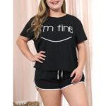 Оригинал              Плюс Размер Женское Letter Print Черные шорты с завязками с короткими рукавами Повседневный пижамный комплект