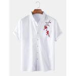 Оригинал              Мужские рубашки Oriental Plum Blossom с короткими рукавами и вышивкой