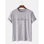 Оригинал              Мужская повседневная футболка с коротким рукавом из 100% хлопка с принтом для писем Шея
