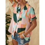 Оригинал              Повседневная блузка с коротким рукавом с геометрическим принтом и короткими рукавами для Женское