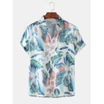 Оригинал              Mens Tropical Растение Листья с принтом отложным воротником с коротким рукавом Hawaii Holiday Shirts