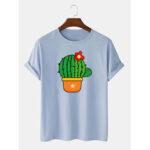 Оригинал              Мужские милые мультяшные печатные кактусы с коротким рукавом из дышащего хлопка 100% футболки