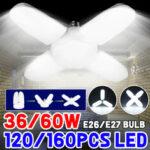 Оригинал              AC85-265V E27/E26 36 Вт 60 Вт LED Лампа деформируемый гараж Лампа Складной потолочный светильник для домашнего использования в помещении