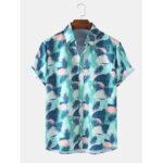 Оригинал              Mens Tropical Растение Повседневные рубашки с коротким рукавом с гавайским принтом