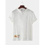 Оригинал              Мужская Восточная Пряжка Пион Вышивка Сплошной Цвет С Коротким Рукавом Дышащие Рубашки Henley