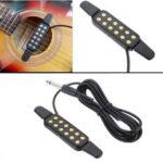 Оригинал              Регулируемая громкость 12 отверстий Sound Pickup Микрофон Провод Усилитель Динамик для акустической гитары с подключением Провод Гитарные парт