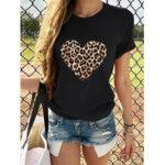 Оригинал              Леопардовый принт Love Print Круглые Шея Причинные футболки Для Женское