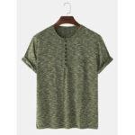 Оригинал              Мужские повседневные однотонные рубашки с короткими рукавами и половиной открытых дышащих рубашек Henley