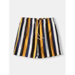 Оригинал              Мужские Colorful полосатые шорты быстросохнущая сетчатая подкладка середина Длина Пляжный шорты для плавок