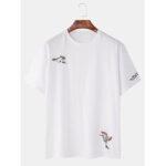 Оригинал              Mens Oriental Bird Вышивка Комфортные футболки с коротким рукавом