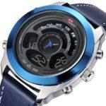 Оригинал              KAT-WACH 731 Модные спортивные мужские цифровые часы Дата Неделя Месяц Дисплей Хронограф Кожаный ремешок LED Двойные часы Дисплей