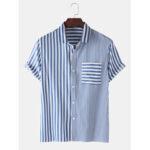Оригинал              Мужские повседневные полосатые хлопковые рубашки с короткими рукавами Дизайн