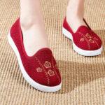 Оригинал              Женская вышивка Comfy Breathable Повседневная мелкая обувь на плоских лоферах