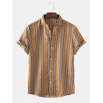 Оригинал              Мужские повседневные рубашки с короткими рукавами в полоску Винтаж