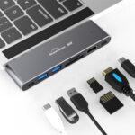 Оригинал              Blueendless 7-в-1 двойной USB-C адаптер-концентратор с 2 * USB 3.0 / 80W Type-C PD 8K 60HZ Видеовыход 40 Гбит / с Передача данных / 4K HDMI / Считыватели карт памяти для MacB