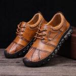 Оригинал              Menico Мужская кожаная ручная строчка противоскользящая повседневная обувь