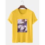 Оригинал              7 цветов Мужская хлопковая астронавтская лицензия с коротким рукавом повседневные футболки