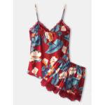 Оригинал              Женская безрукавка с тропическим принтом и кружевной отделкой с V-образным вырезом гладкая домашняя пижама