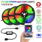 Оригинал              1M / 2M / 3M / 4M / 5M RGB Bluetooth APP LED Strip Light 5050SMD Гибкая Водонепроницаемы Управление музыкой ТВ Подсветка DC5V